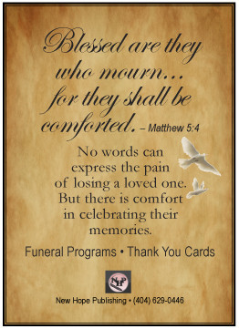 Memorial Funeral Programs And Prayer Cards:  Funeral Words For Cards